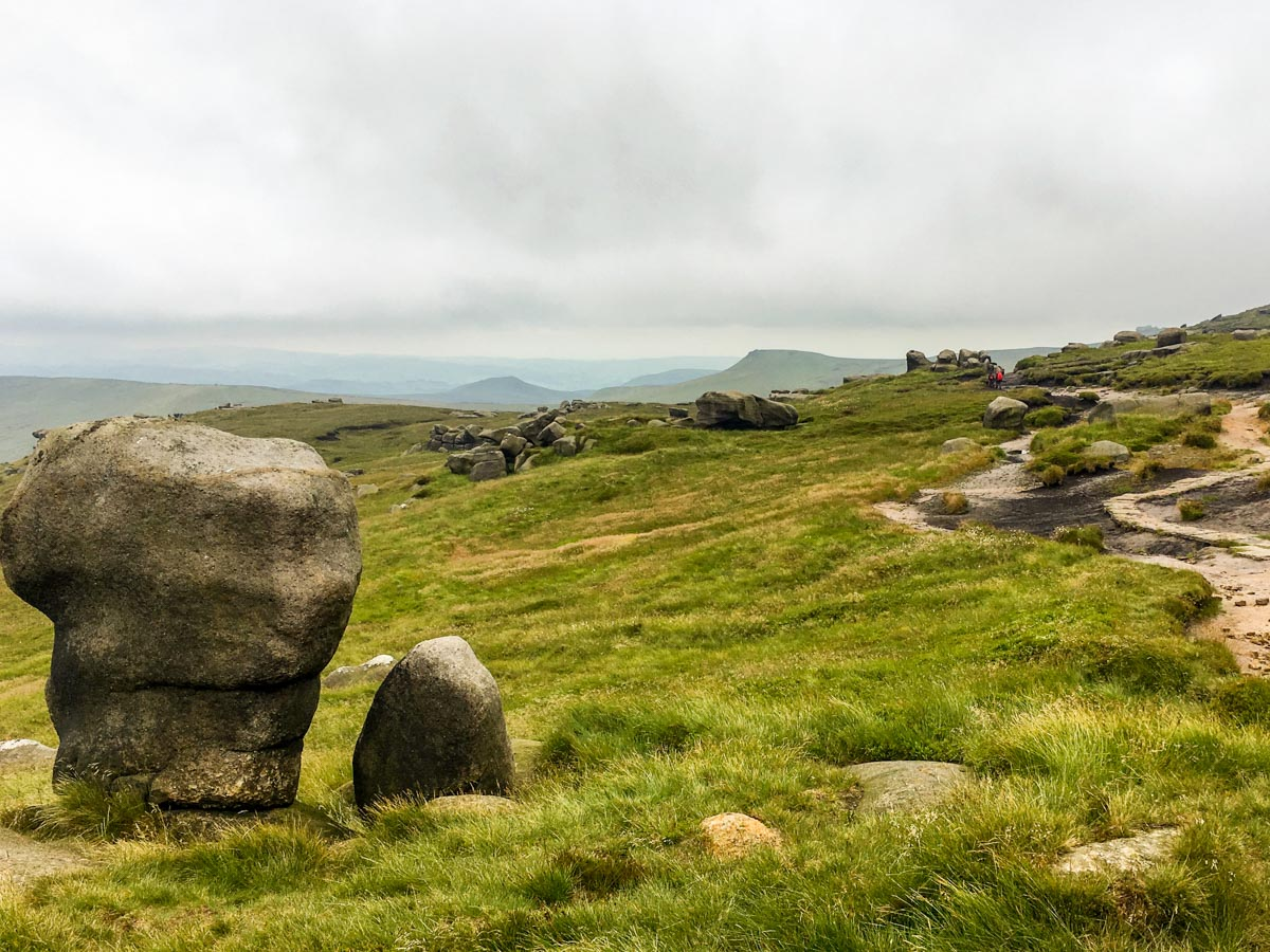 On top of the Kinder Plateau on the Kinder Scout Hike in Peak District, England