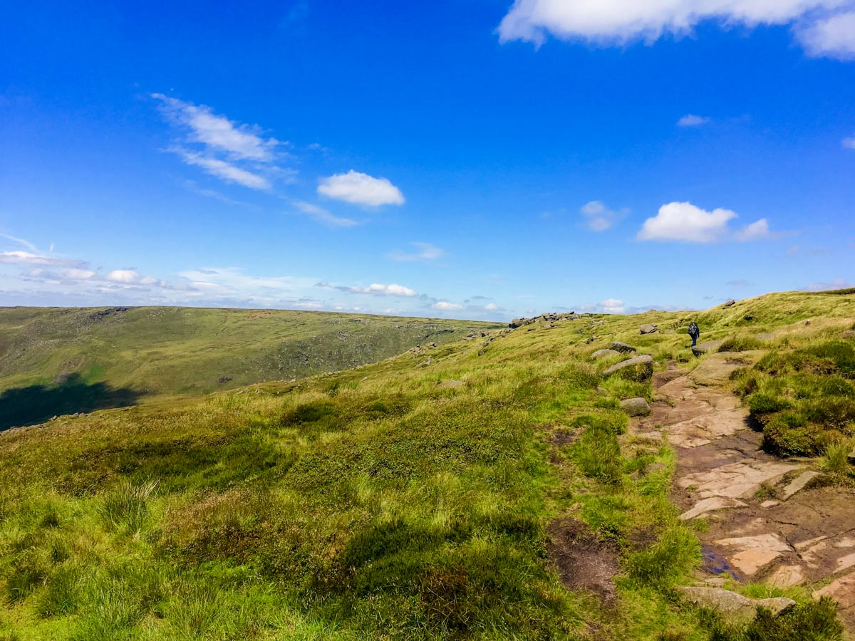 Pennine Way on Kinder Reservoir on Kinder Scout walk in Peak District