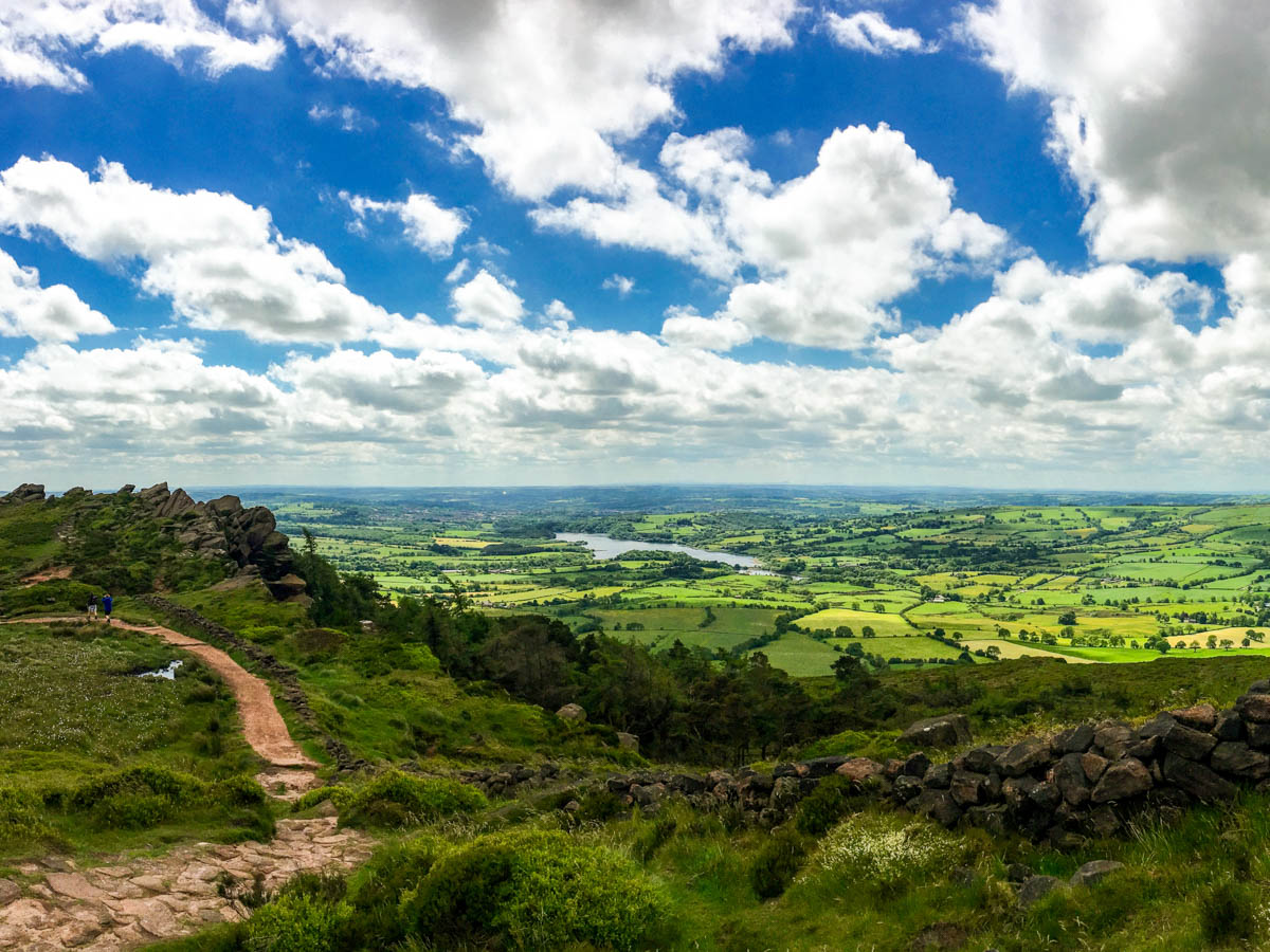 Panoramic view of The Roaches and Lud's Church Hike in Peak District, England