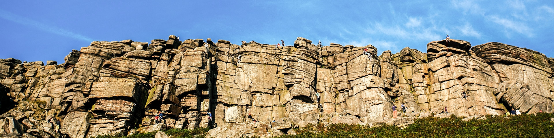 Panorama from the Stanage Edge from Hathersage hike in Peak District, England