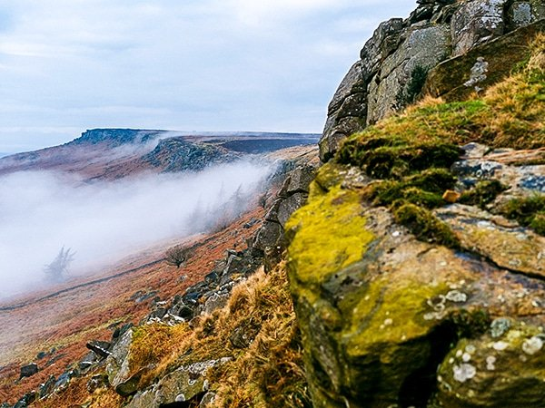 Scenery of the Stanage Edge from Hathersage hike in Peak District, England