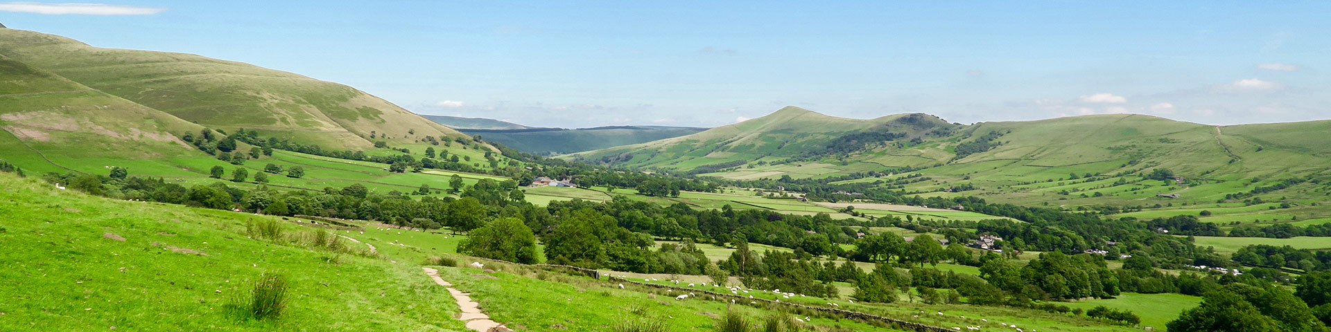 Panorama of the Kinder Scout hike in Peak District, England