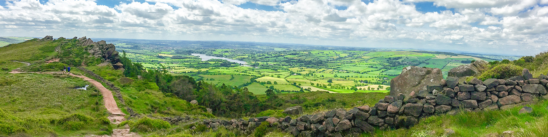 Panoramic views from the Roaches and Lud's Church hike in Peak District, England