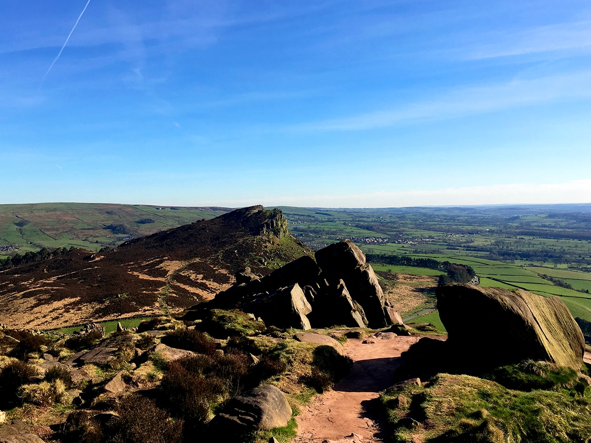 Looking back to Hen Cloud on The Roaches and Lud's Church Hike in Peak District, England