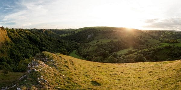 Panorama from the Thor's Cave and the Manifold Valley hike in Peak District, England