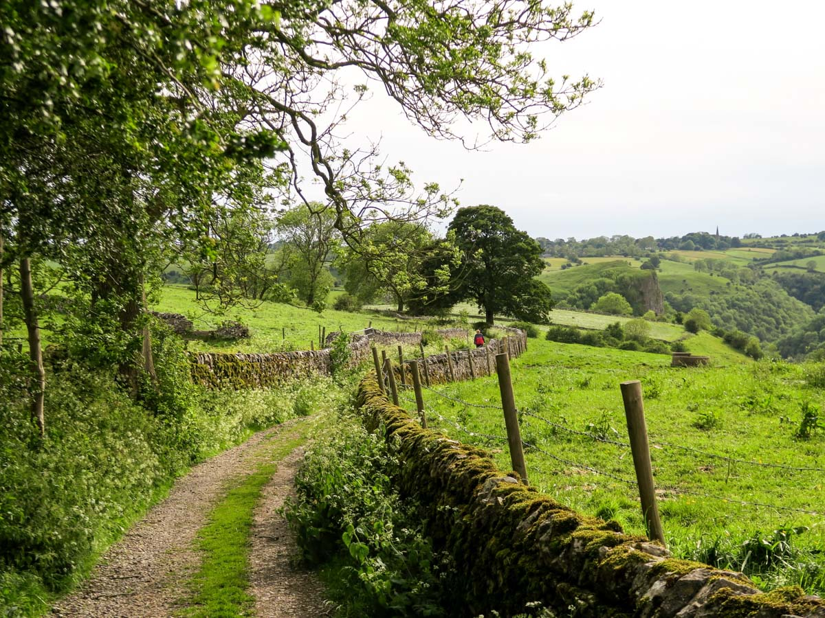 Farm track to Wetton Mill on Thor's Cave and The Manifold Valley Hike in Peak District, England