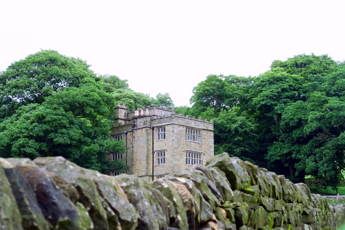 North Lees Hall on the Stanage Edge from Hathersage Hike in Peak District, England