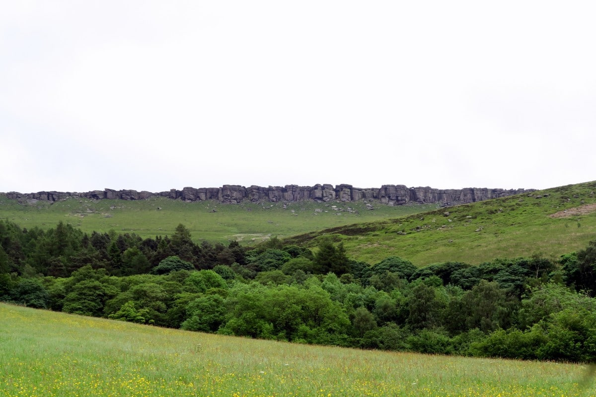 Panoramic views on the uphill from the Stanage Edge from Hathersage Hike in Peak District, England