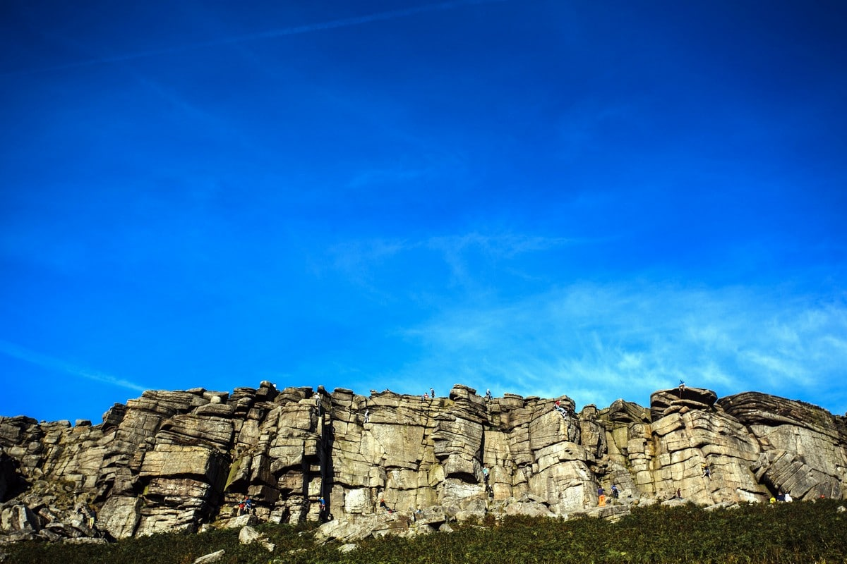 Climbers along the Stanage Edge from Hathersage Hike in Peak District, England
