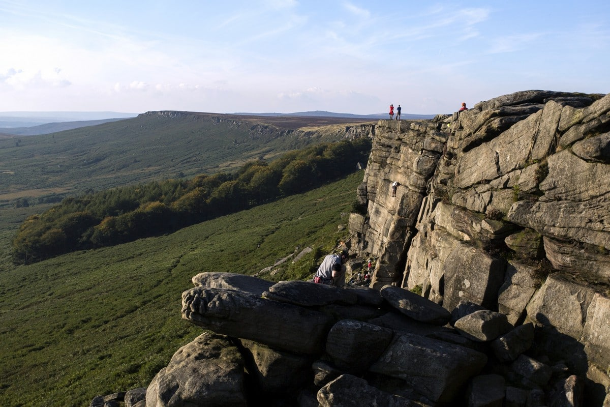 Looking out on the edge from the Stanage Edge from Hathersage Hike in Peak District, England