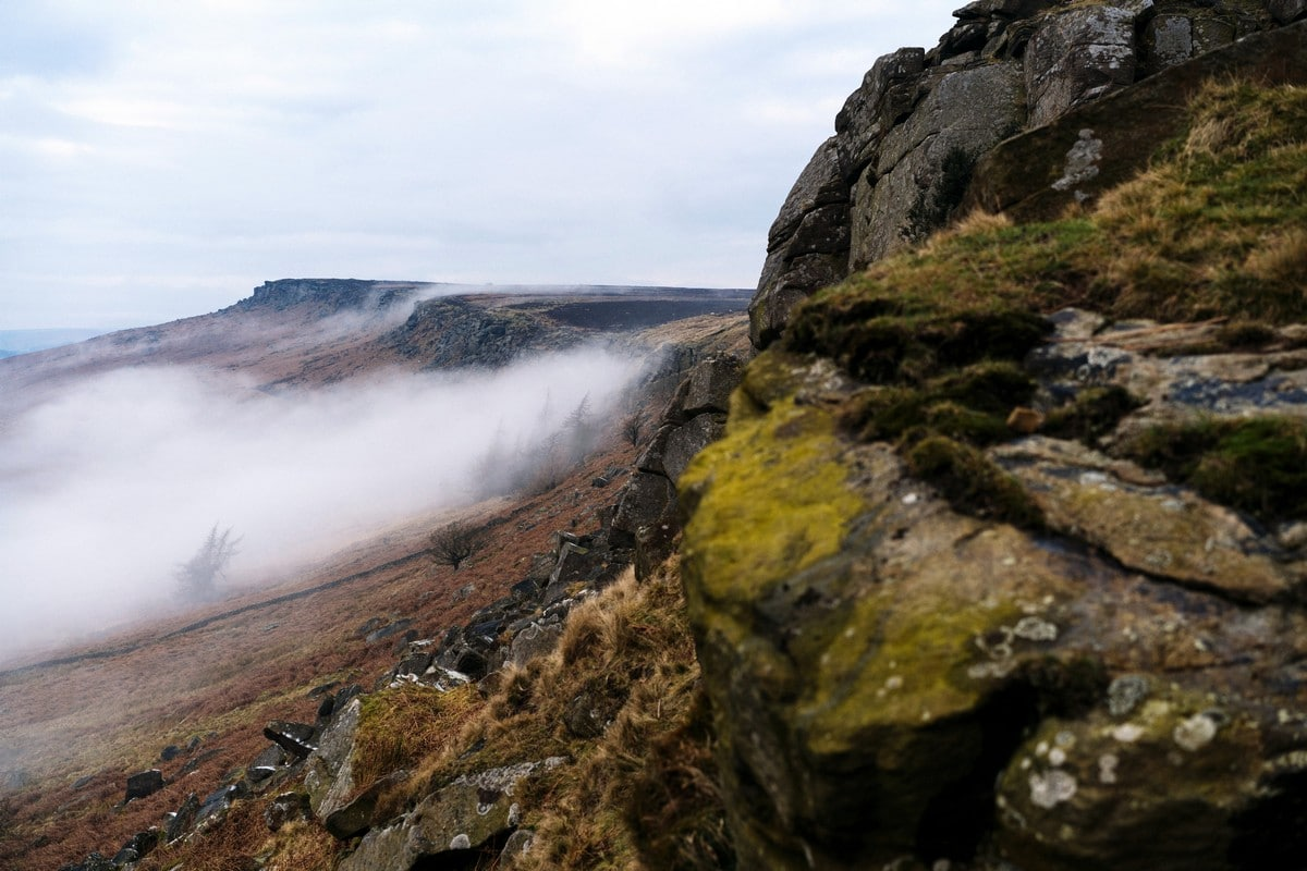 Looking out along the edge on the Stanage Edge from Hathersage Hike in Peak District, England
