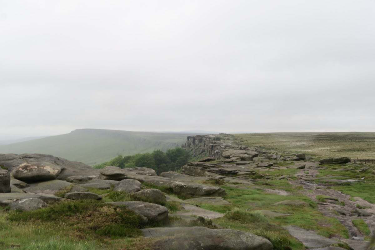 Trail on top of the escarpment on the Stanage Edge from Hathersage Hike in Peak District, England