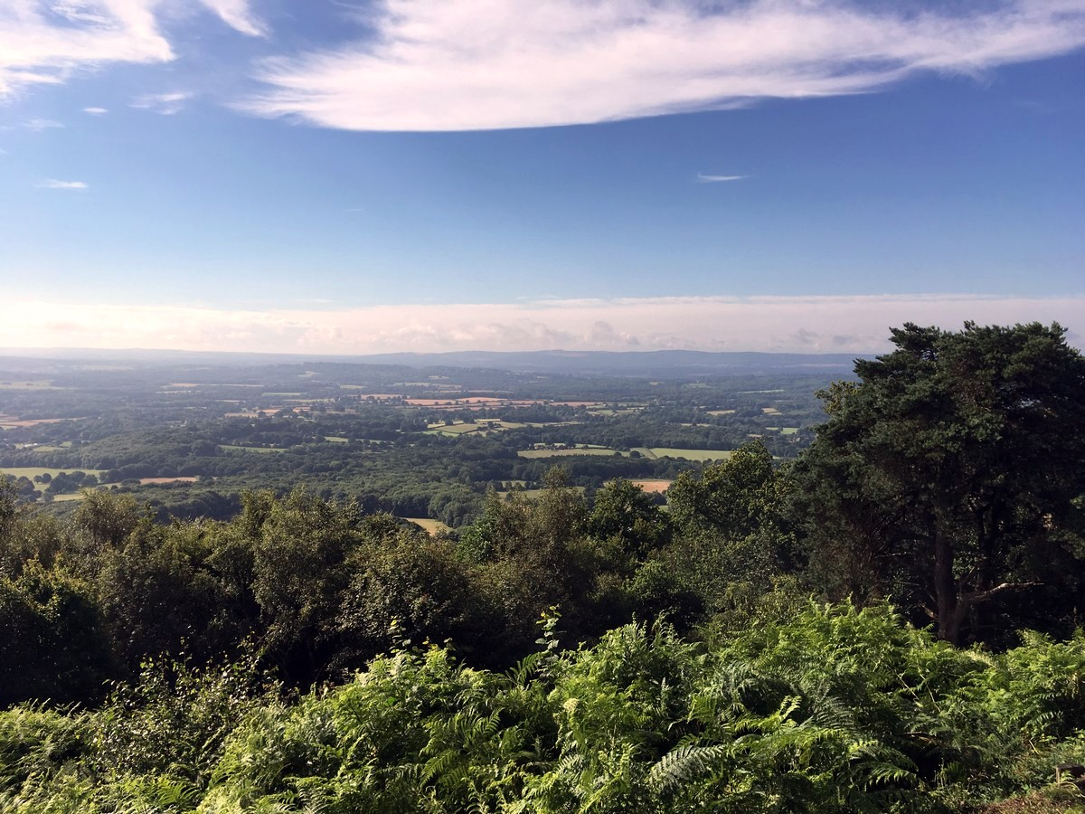 Views across the west Weald on the Temple of the Winds Hike in South Downs, England