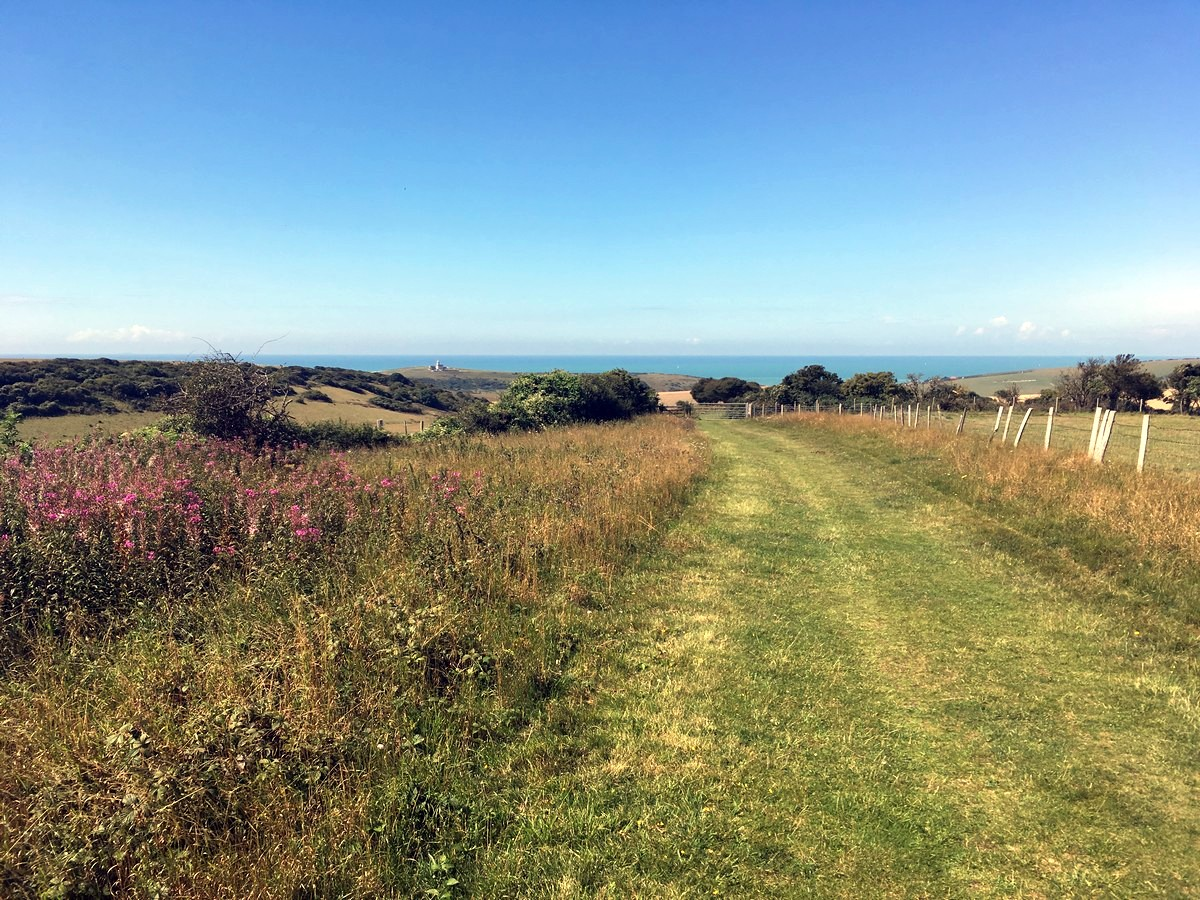 Trail across long Down on the East Dean, Beachy Head and Birling Gap Hike in South Downs, England