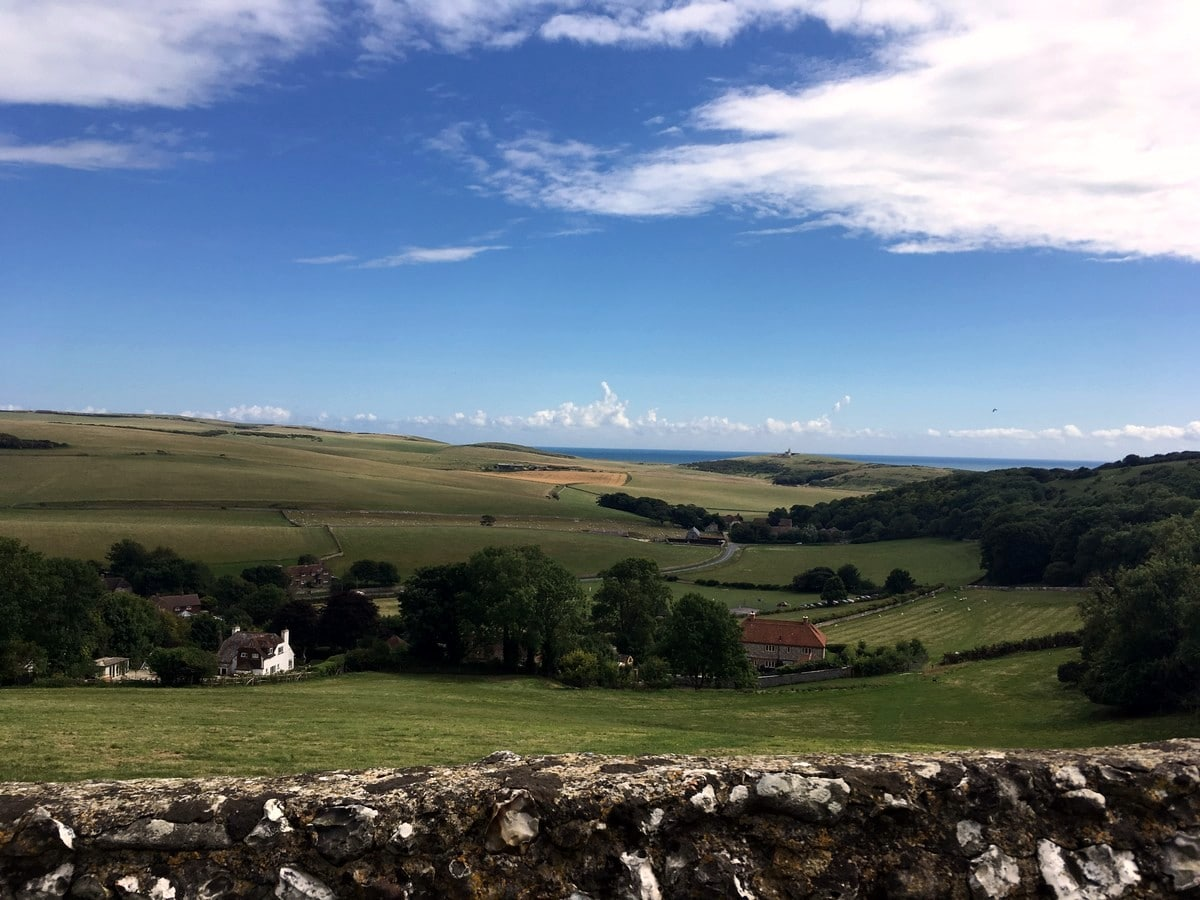 Views of the ocean and Bullock Down from the East Dean, Beachy Head and Birling Gap Hike in South Downs, England