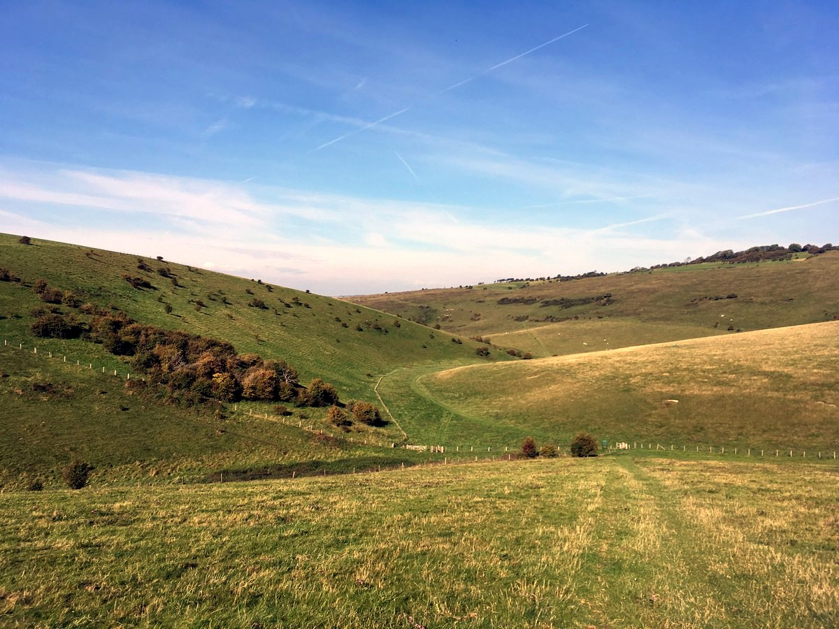 The valley below from the Glynde and Mount Caburn Hike in South Downs, England