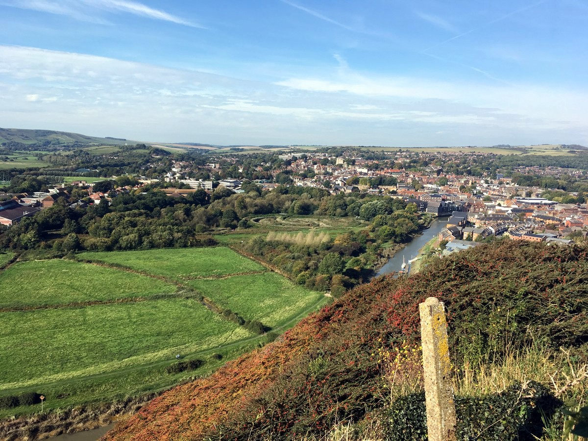 View of Lewes from the Glynde and Mount Caburn Hike in South Downs, England