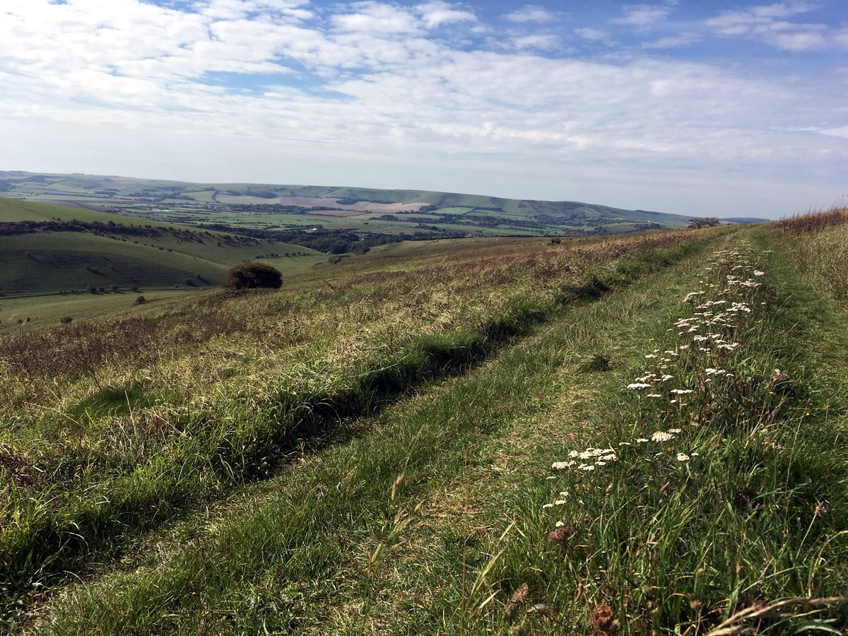 Views towards Lewes from the Glynde and Mount Caburn Hike in South Downs, England