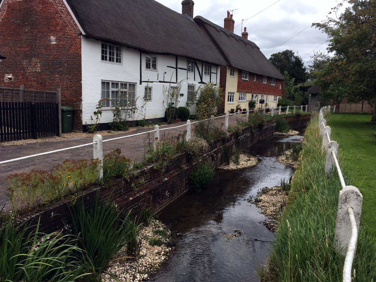 The quaint village of East Meon on the East Meon and Butser Hill Hike in South Downs, England