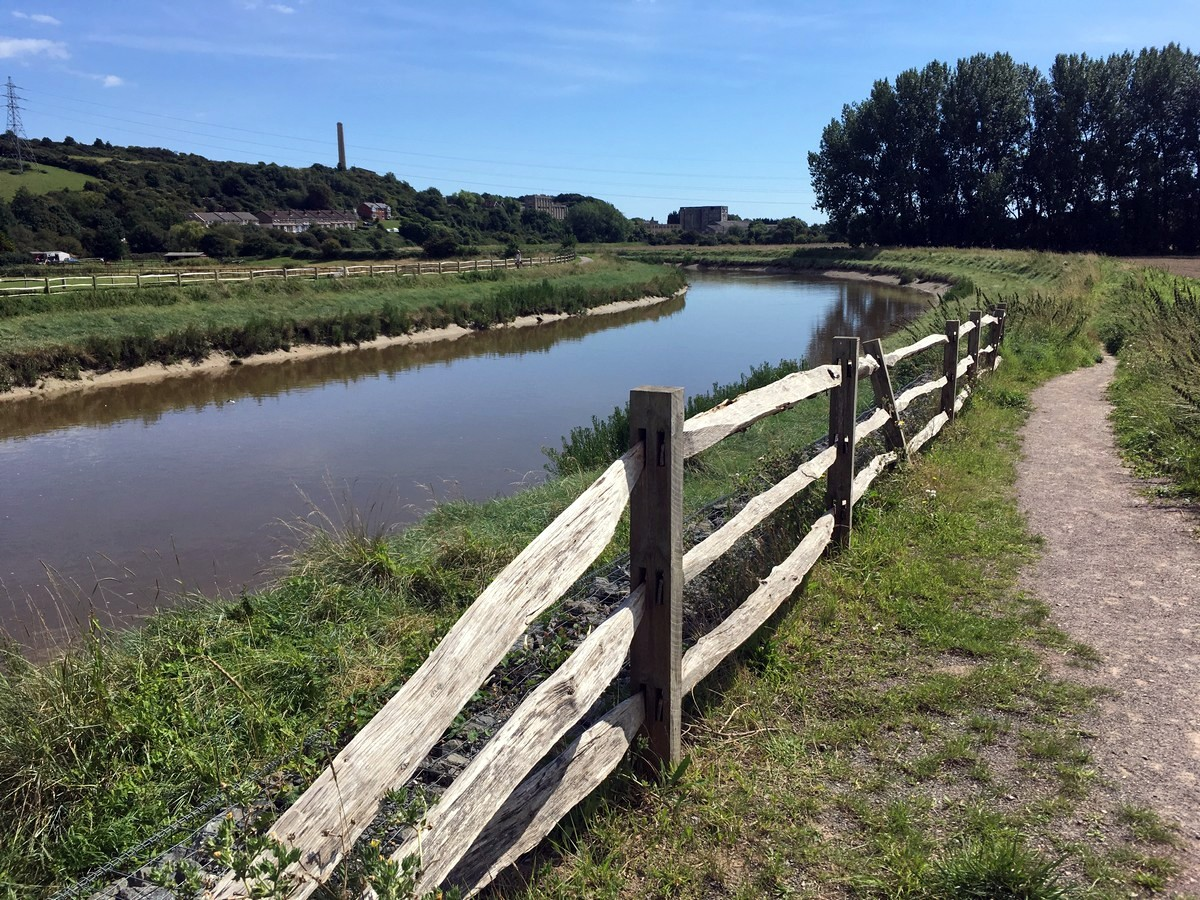 The Downs link trail next to the River Adur in South Downs