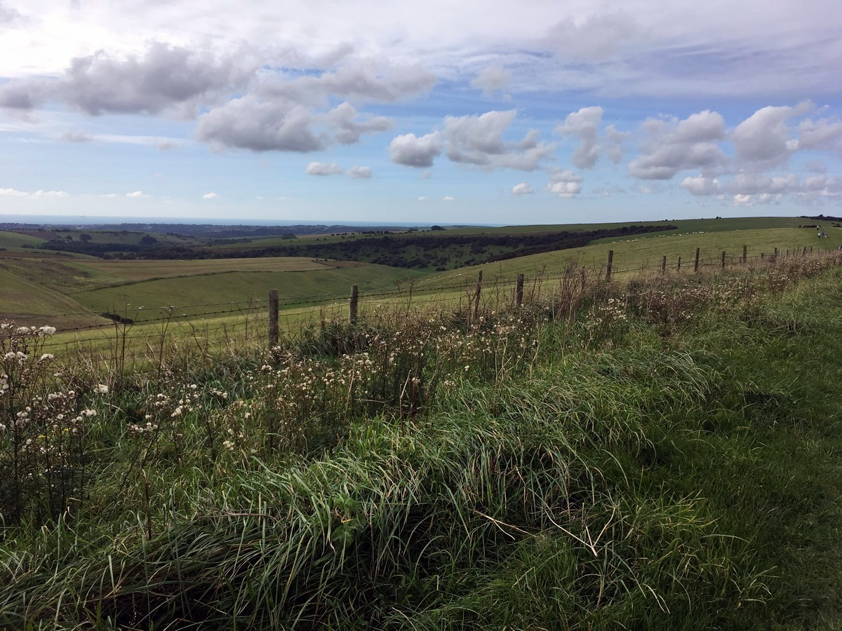 Views south towards Brighton on the Hassocks to Lewes Hike in South Downs, England