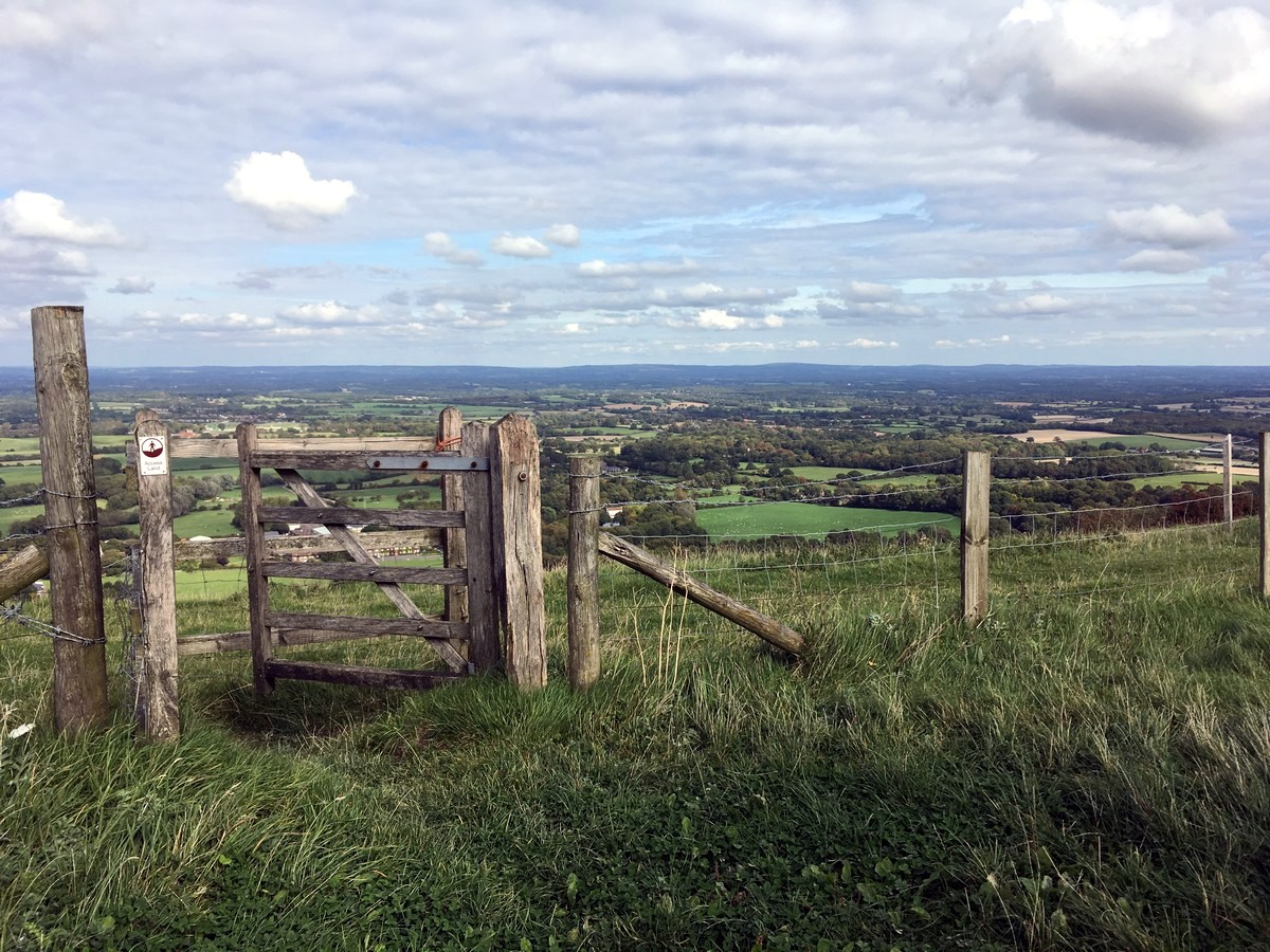 View to the north from Plumpton Plain from the Hassocks to Lewes Hike in South Downs, England