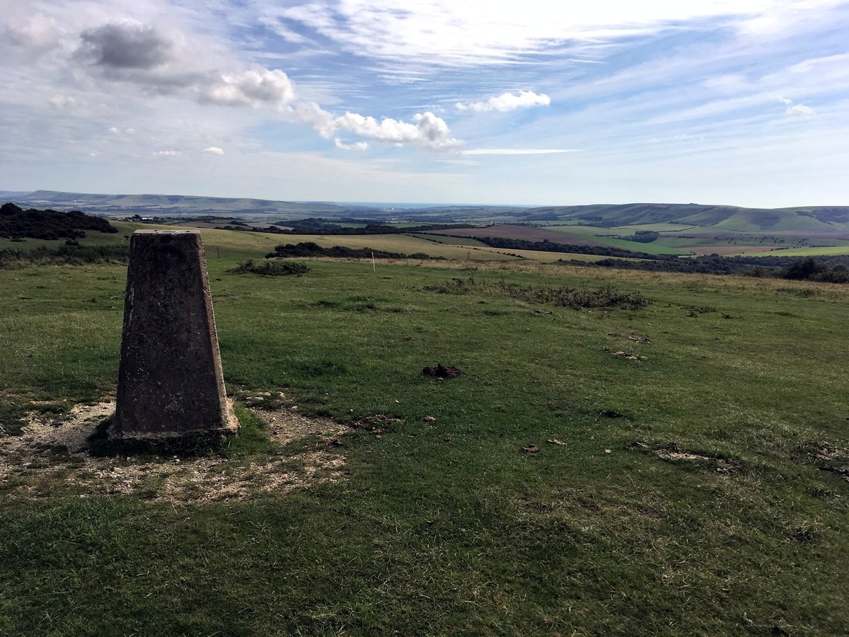 The Trig marker at Black Cap national trust site on the Hassocks to Lewes Hike in South Downs, England