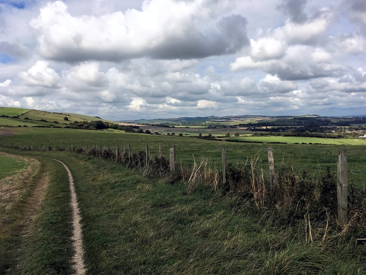 Walking along the South Downs Way on the Southease and the River Ouse Hike in South Downs, England