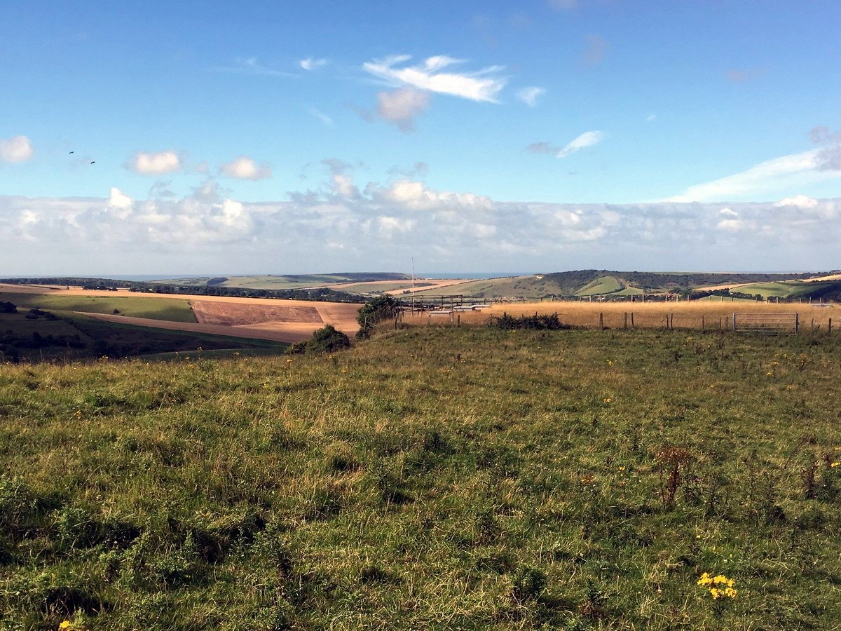 Ocean and White Horse of Litlington in the distance