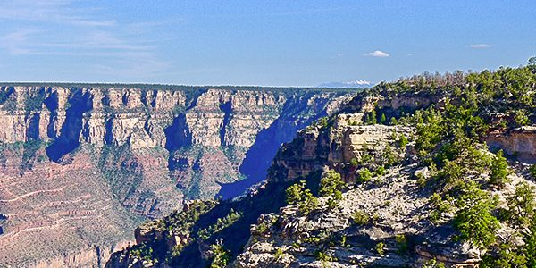 Trail of the hike in Grand Canyon National Park, Arizona