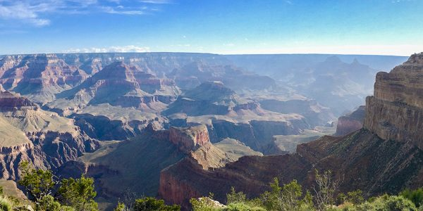 Panoramic views from the South Rim Trail hike in Grand Canyon National Park, Arizona