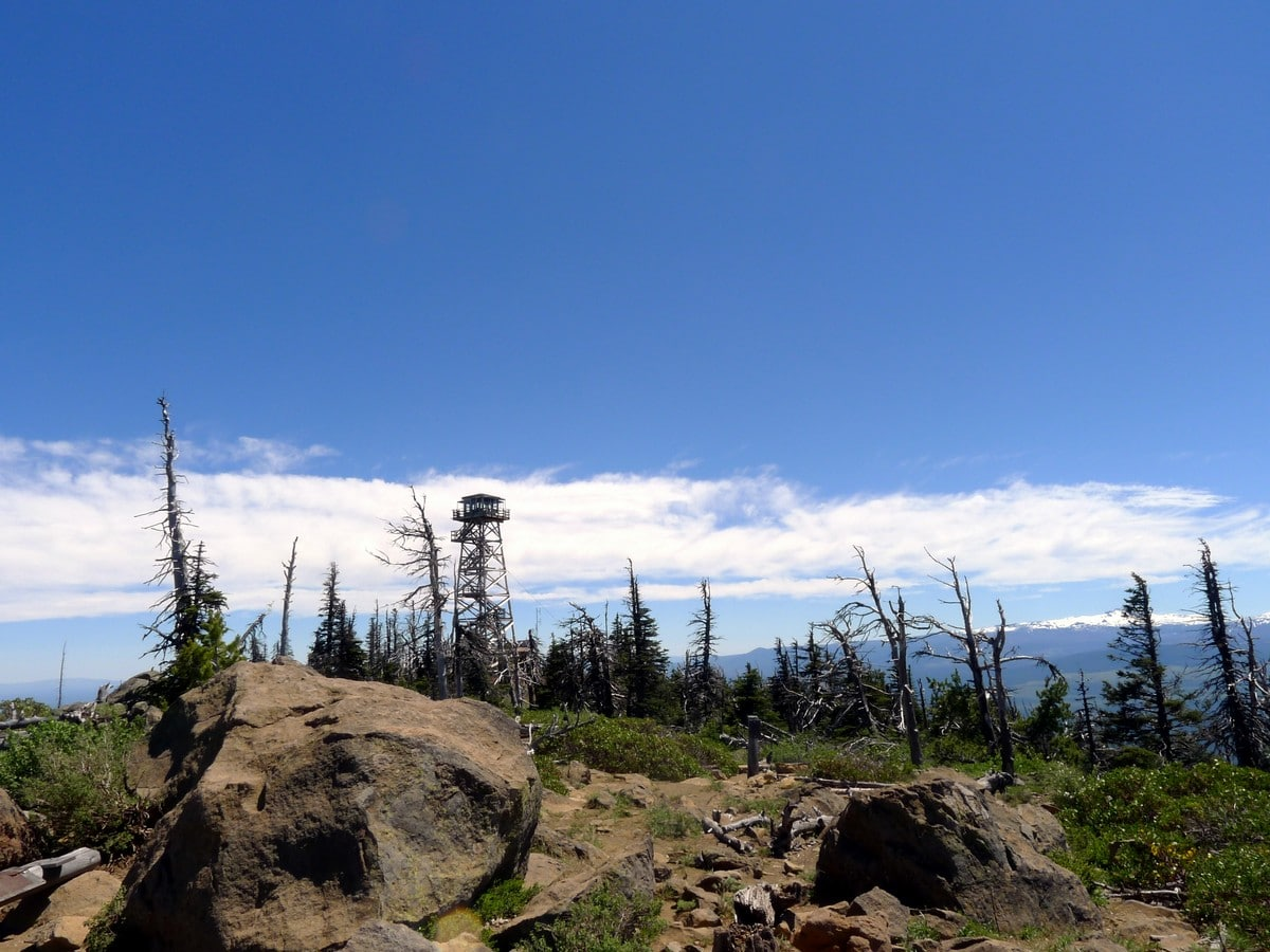 Fire lookout from the summit on the Black Butte Hike near Bend, Oregon