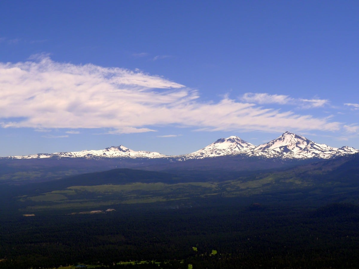 Three Sisters and a Broken Top on the Black Butte Hike near Bend, Oregon