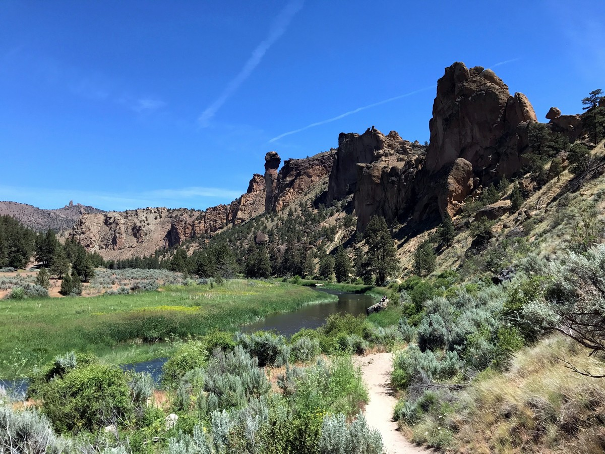 Black side of the rock on the Smith Rock's Misery Ridge Loop Hike near Bend, Oregon