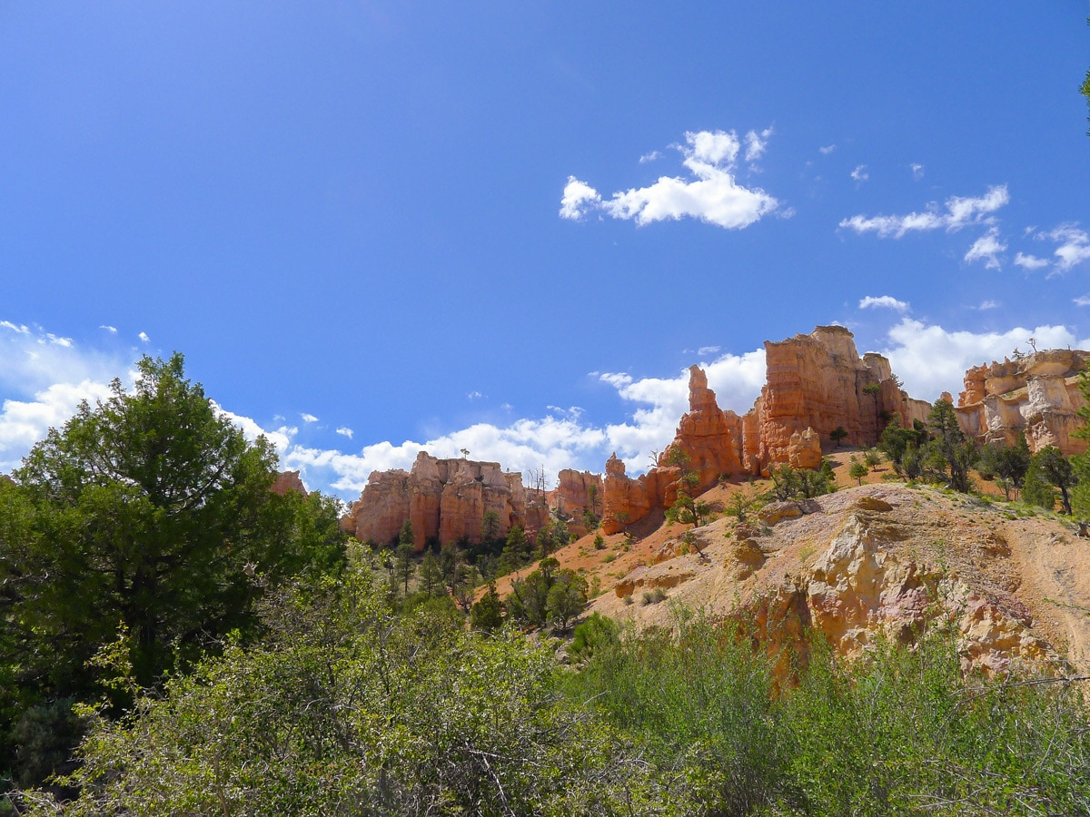 Hoodoos along Mossy Cave trail hike in Bryce Canyon National Park