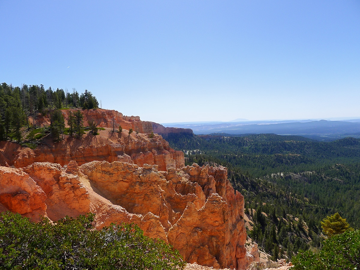Cassidy trail hike in Bryce Canyon National Park surrounded by red cliffs