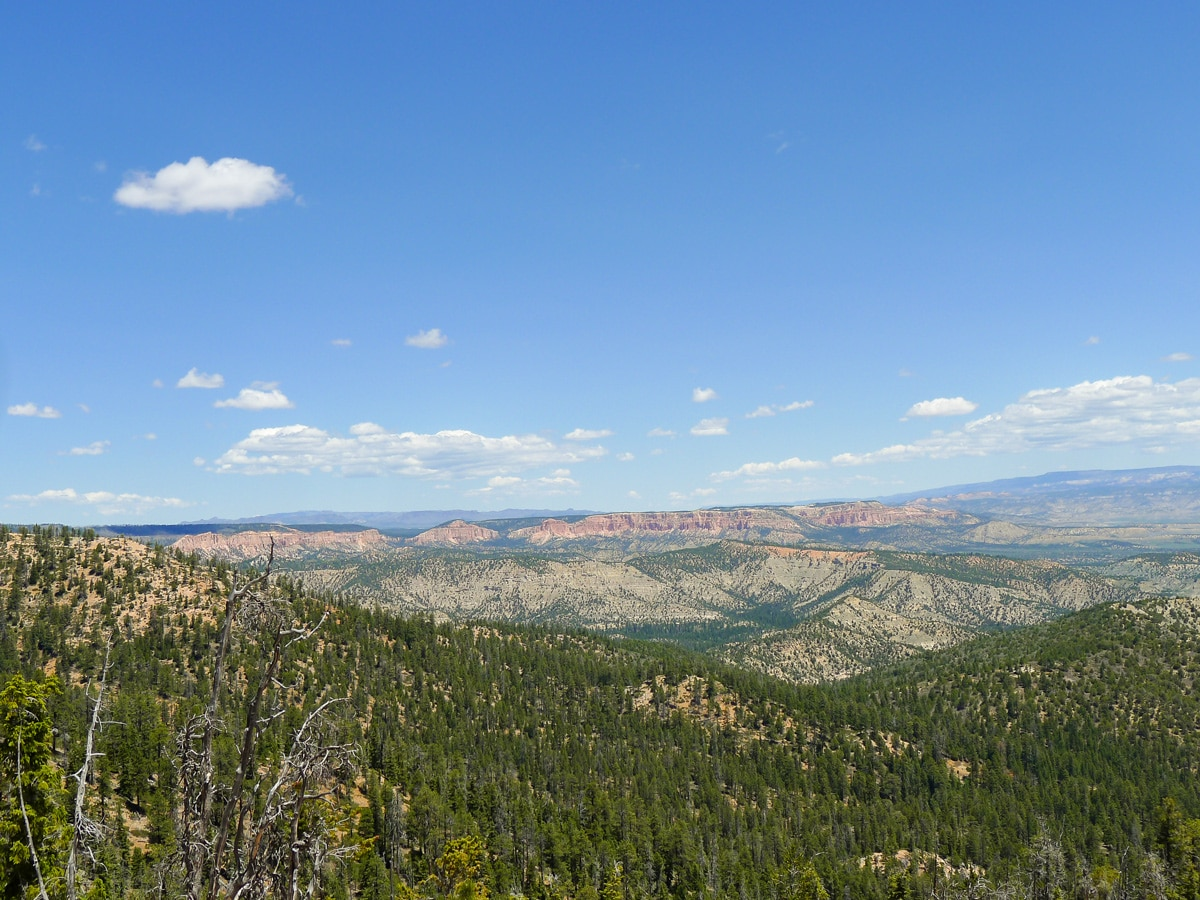 Colourful hills on Cassidy trail hike in Bryce Canyon National Park