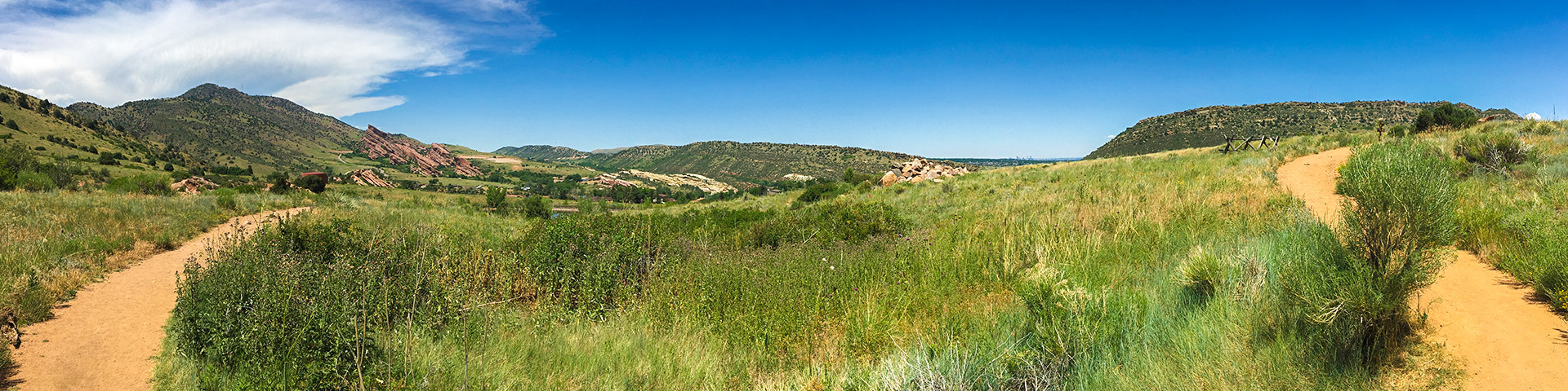 Panorama of the Mount Falcon Park hike in Denver, Colorado
