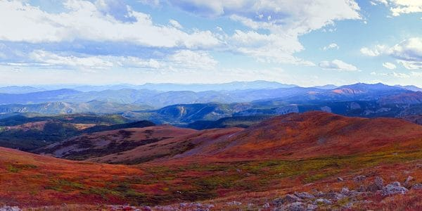 Panorama from the Arapaho Glacier Trail hike in Indian Peaks, Colorado