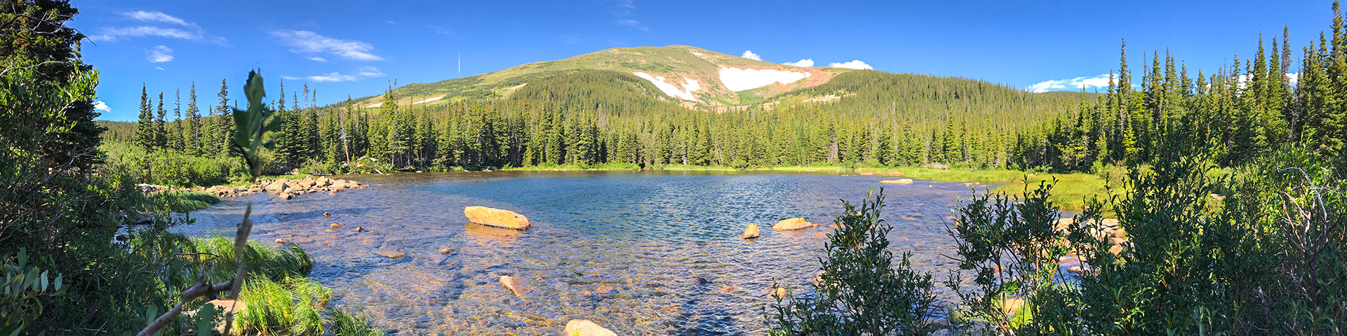 Panorama from the Rainbow Lake hike in Indian Peaks, Colorado