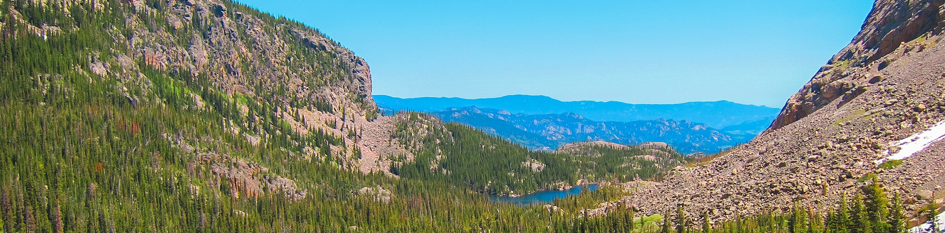 Panoramic views on Sky Pond and Lake of Glass hike in Rocky Mountain National Park, Colorado