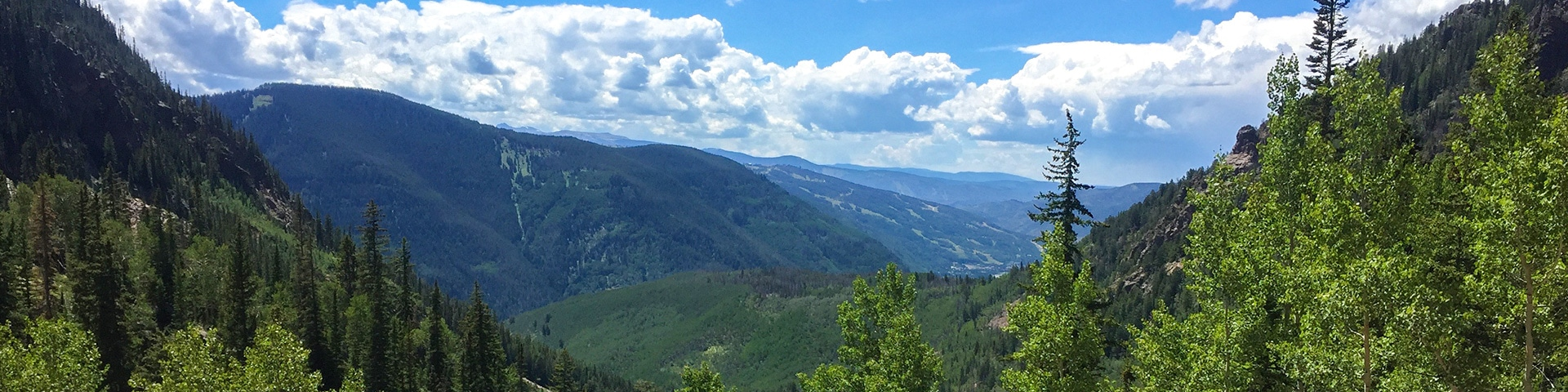 Panorama of the Bighorn Creek Trail hike in Vail, Colorado