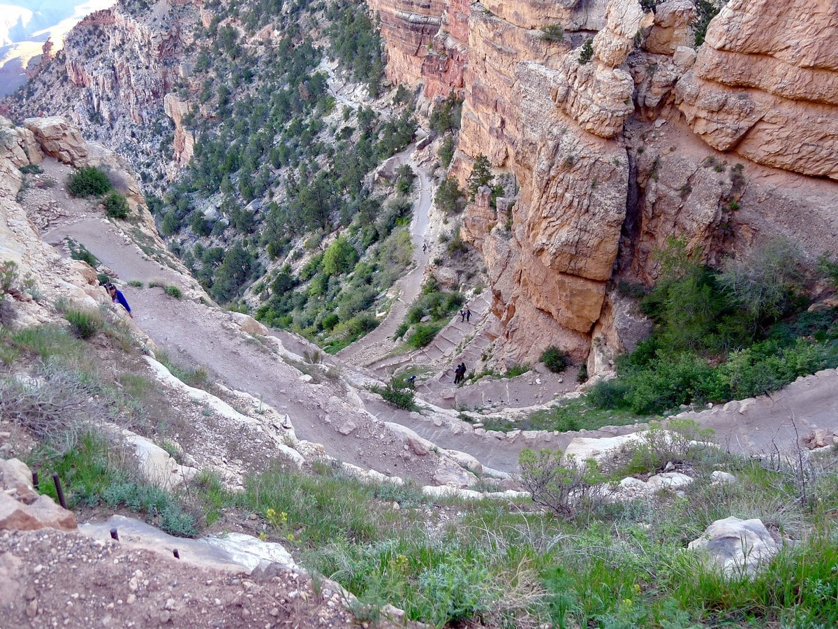 Switchbacking on the South Kaibab Trail Hike in Grand Canyon National Park, Arizona