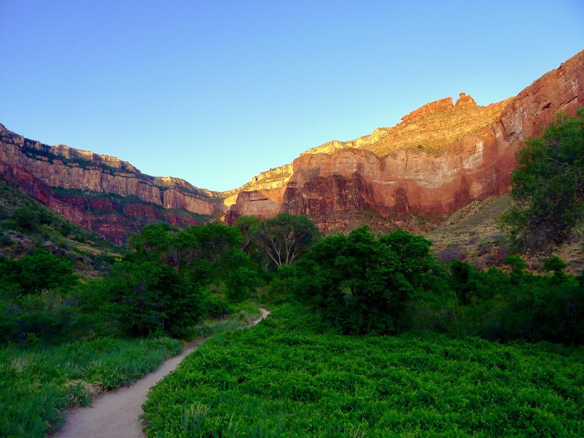 Hiking up the trail towards the Indian Gardens on the Bright Angel Trail Hike in Grand Canyon National Park, Arizona