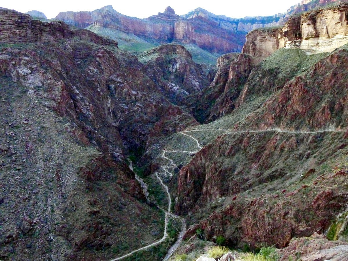 Switchbacks on the Bright Angel Trail Hike in Grand Canyon National Park, Arizona