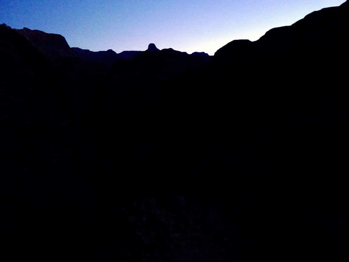 Dawn as you begin on the Bright Angel Trail Hike in Grand Canyon National Park, Arizona