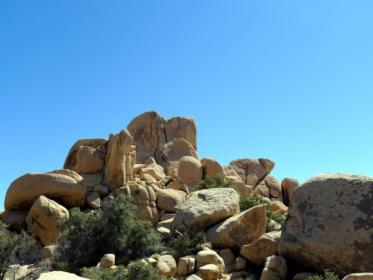 Rock formations on the High View Trail Hike in Joshua Tree National Park, California