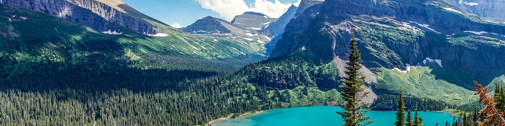 Panoramic views from the Grinnell Glacier Hike in Glacier National Park, Montana