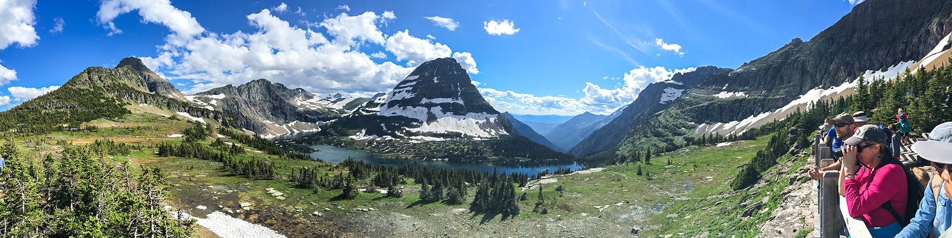 Panorama from the Hidden Lake Overlook hike in Glacier National Park, Montana