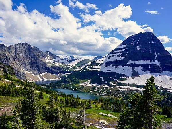 Scenery from the Hidden Lake Overlook hike in Glacier National Park, Montana